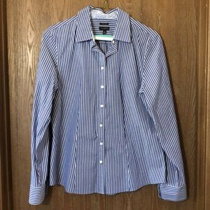 Talbots blue and white striped blouse